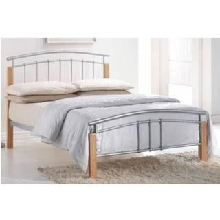 Mirela 160 kovová manželská posteľ s roštom prírodná