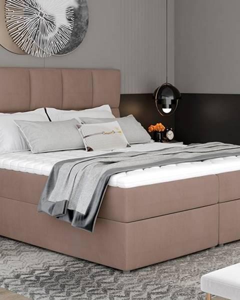NABBI Grosio 145 čalúnená manželská posteľ s úložným priestorom hnedá