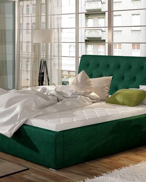 NABBI Monzo UP 140 čalúnená manželská posteľ s roštom tmavozelená