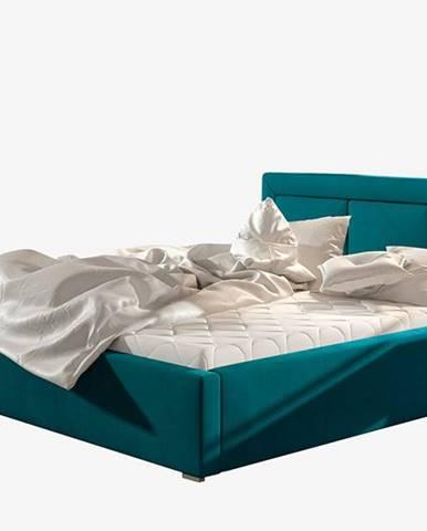 Branco 160 čalúnená manželská posteľ s roštom tyrkysová