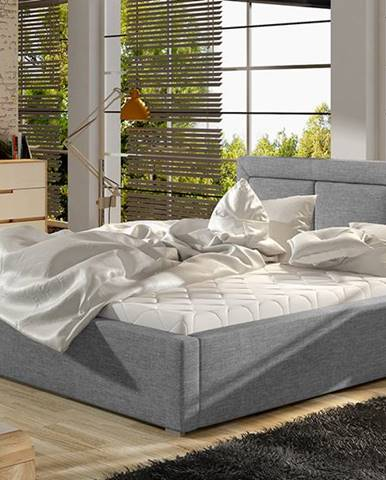 Branco UP 160 čalúnená manželská posteľ s roštom svetlosivá (Sawana 21)
