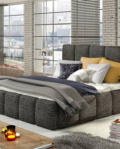 Evora 140 čalúnená manželská posteľ čierna (Berlin 02)