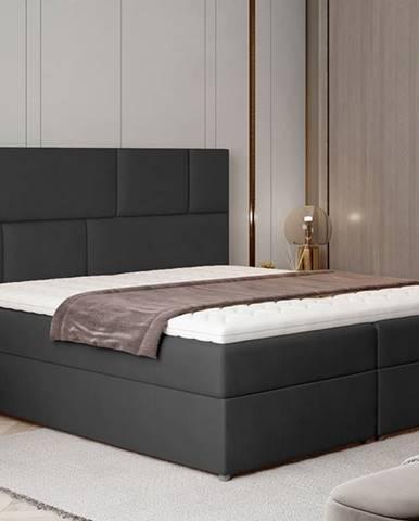 Ferine 145 čalúnená manželská posteľ s úložným priestorom čierna (Monolith 97)