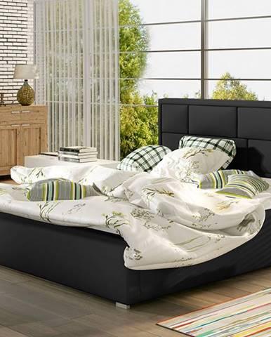 Liza UP 180 čalúnená manželská posteľ s roštom čierna