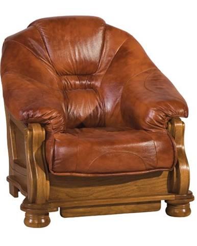 Lord kožené kreslo drevo D3