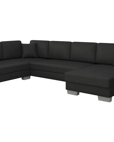 Mariano L rohová sedačka u s rozkladom a úložným priestorom čierna