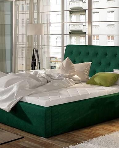 Monzo UP 140 čalúnená manželská posteľ s roštom tmavozelená