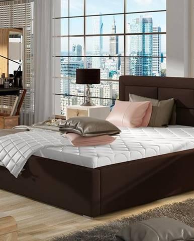 Rovigo UP 140 čalúnená manželská posteľ s roštom tmavohnedá (Soft 66)
