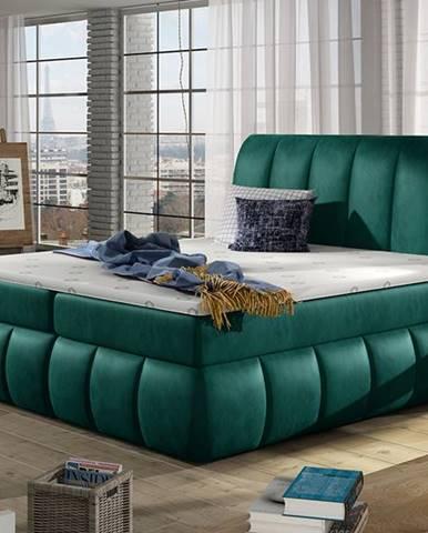 Vareso 140 čalúnená manželská posteľ s úložným priestorom tmavozelená