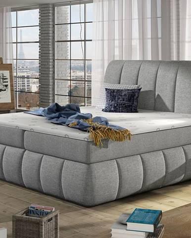 Vareso 160 čalúnená manželská posteľ s úložným priestorom svetlosivá (Sawana 21)
