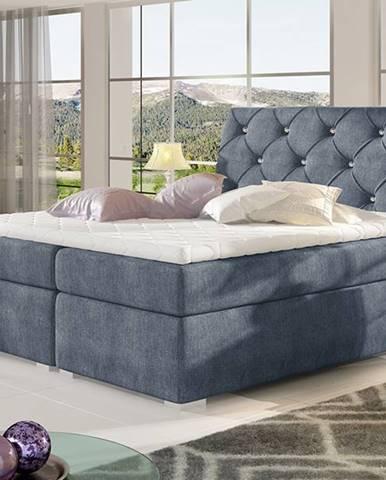 Beneto 180 čalúnená manželská posteľ s úložným priestorom modrá