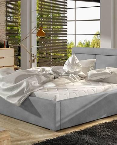 Branco UP 180 čalúnená manželská posteľ s roštom svetlosivá (Paros 05)