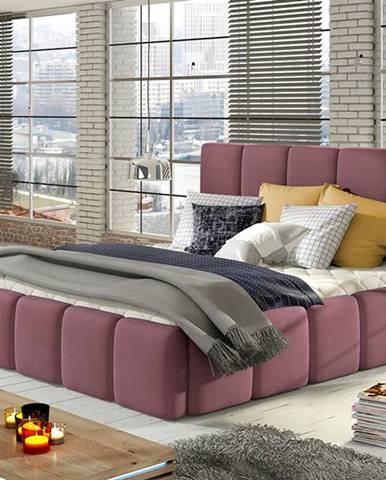 Evora 160 čalúnená manželská posteľ ružová