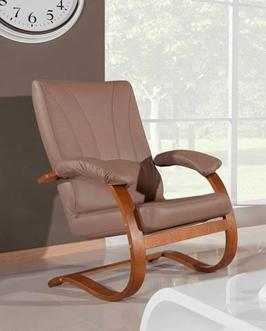 Galicja kožené relaxačné kreslo drevo D3