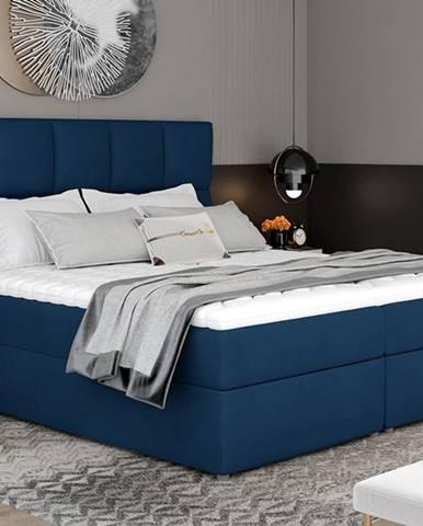 Grosio 185 čalúnená manželská posteľ s úložným priestorom tmavomodrá