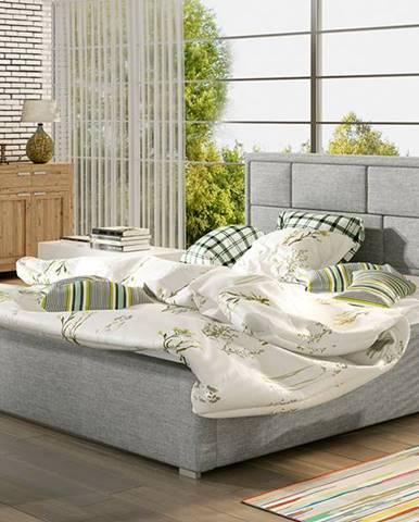 Liza 180 čalúnená manželská posteľ s roštom svetlosivá (Sawana 21)