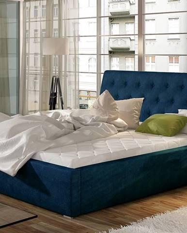 Monzo 200 čalúnená manželská posteľ s roštom tmavomodrá