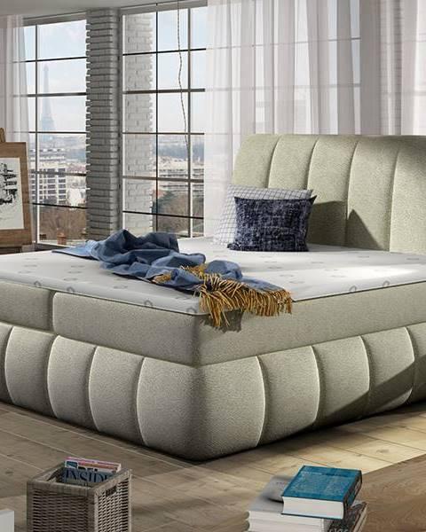 NABBI Vareso 160 čalúnená manželská posteľ s úložným priestorom béžová (Dora 21)