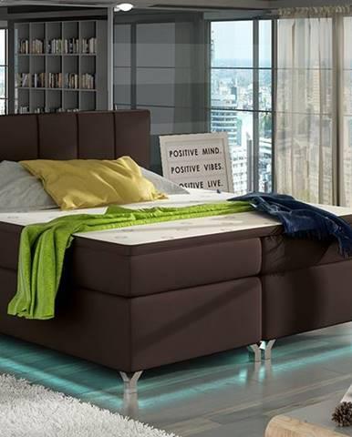 Barino 160 čalúnená manželská posteľ s úložným priestorom tmavohnedá (Soft 66)