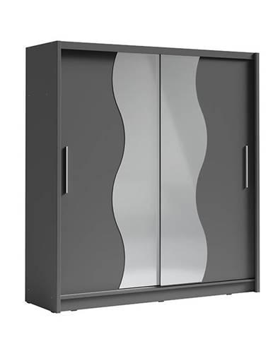 Birgamo Typ 1 šatníková skriňa s posuvnými dverami tmavosivý grafit