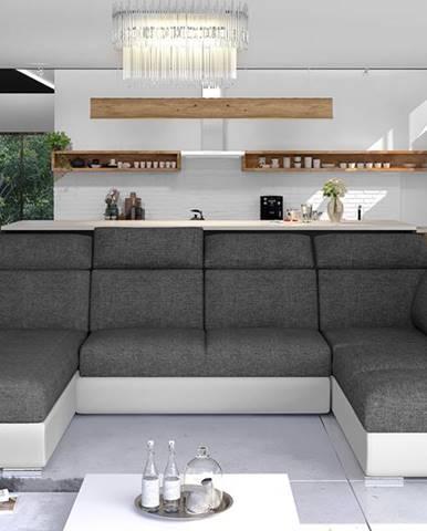 Ermo U P rohová sedačka u s rozkladom a úložným priestorom sivá (Sawana 05)