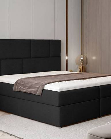 Ferine 145 čalúnená manželská posteľ s úložným priestorom čierna (Sawana 14)