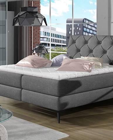Lazio 180 čalúnená manželská posteľ s úložným priestorom sivá