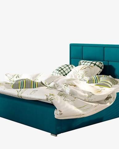 Liza UP 140 čalúnená manželská posteľ s roštom tyrkysová