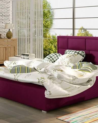 Liza UP 160 čalúnená manželská posteľ s roštom vínová