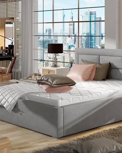 NABBI Rovigo UP 160 čalúnená manželská posteľ s roštom svetlosivá (Paros 05)