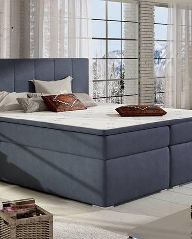 Barmo 160 čalúnená manželská posteľ s úložným priestorom modrá