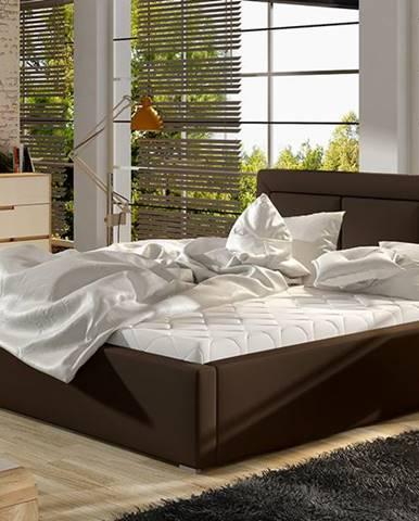 Branco 200 čalúnená manželská posteľ s roštom tmavohnedá (Soft 66)