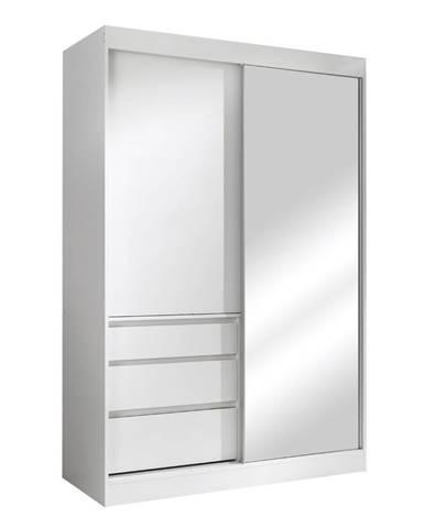 Romualda 140 šatníková skriňa s posuvnými dverami a zrkadlom biela