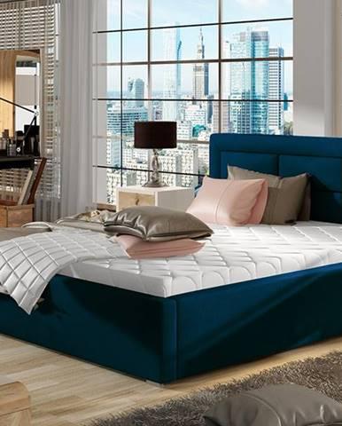 Rovigo UP 180 čalúnená manželská posteľ s roštom tmavomodrá