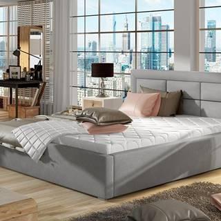Rovigo UP 160 čalúnená manželská posteľ s roštom svetlosivá (Paros 05)