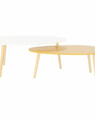 Doblo konferenčný stolík (2 ks) biely lesk