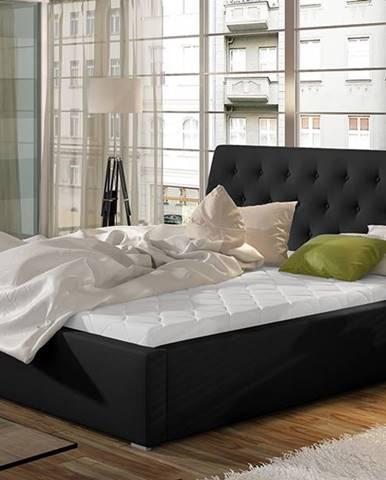 Monzo UP 200 čalúnená manželská posteľ s roštom čierna