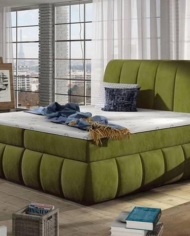 Vareso 140 čalúnená manželská posteľ s úložným priestorom zelená