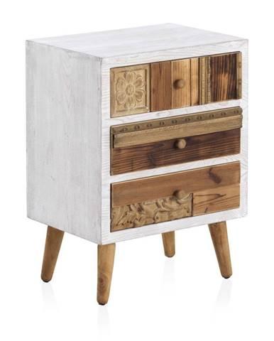 Nočný stolík s bielymi detailmi a troma zásuvkami Geese Rustico Puro, 48,5 cm × 65 cm