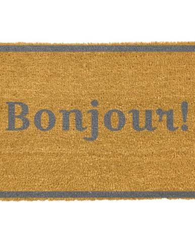 Rohožka z prírodného kokosového vlákna Artsy Doormats Bonjour Grey, 40 x 60 cm