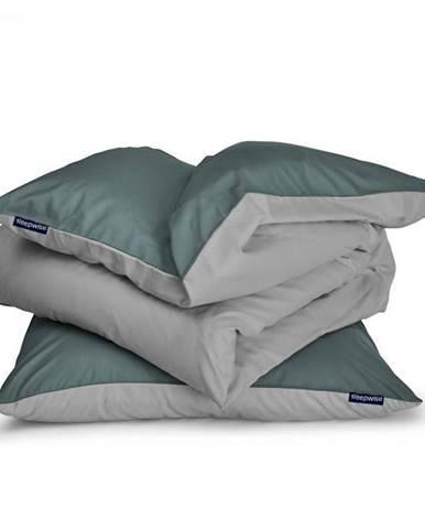 Sleepwise Soft Wonder-Edition, posteľná bielizeň, zelenosivá/svetlosivá, 135 x 200 cm, 80 x 80 cm