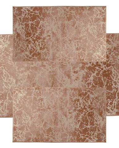 Spálňový set 3 ks moderný koberec béžová/zlatý vzor RAKEL TYP 3