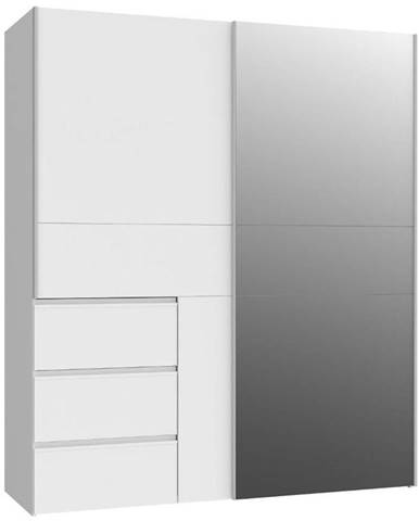 Skriňa Winn 170 dub biely/Zrkadlo