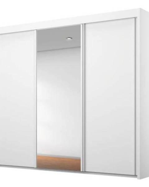 Sconto Šatníková skriňa KING biela, 225 cm, 1 zrkadlo