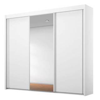 Šatníková skriňa KING biela, 225 cm, 1 zrkadlo