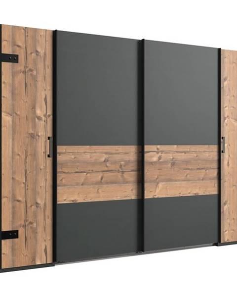 Sconto Šatníková skriňa ALYSSA strieborná jedľa/grafit, 272 cm, bez zrkadla