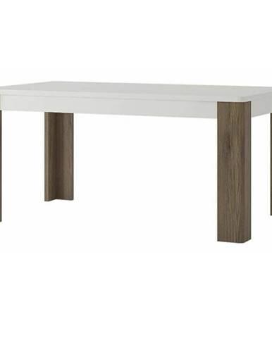 Jedálenský stôl MILANO alpská biela/dub sanremo tmavý