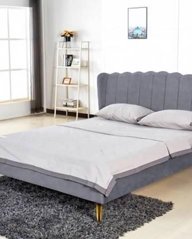 Čalúnená posteľ Florence 160x200, sivá, vrátane roštu