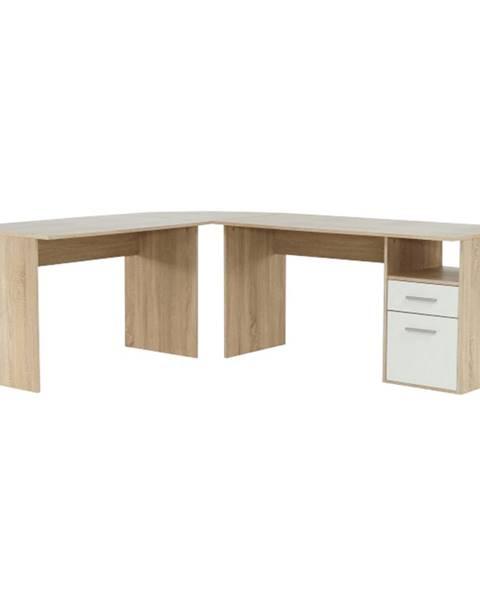 Tempo Kondela Rohový PC stôl dub sonoma/biela MAURUS NEW MA11