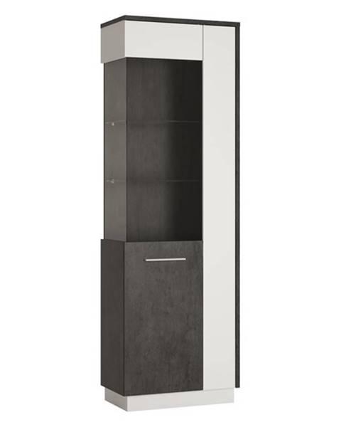 Sconto Vitrína ZINGARO ľavá, 2-dverová, biela/sivá